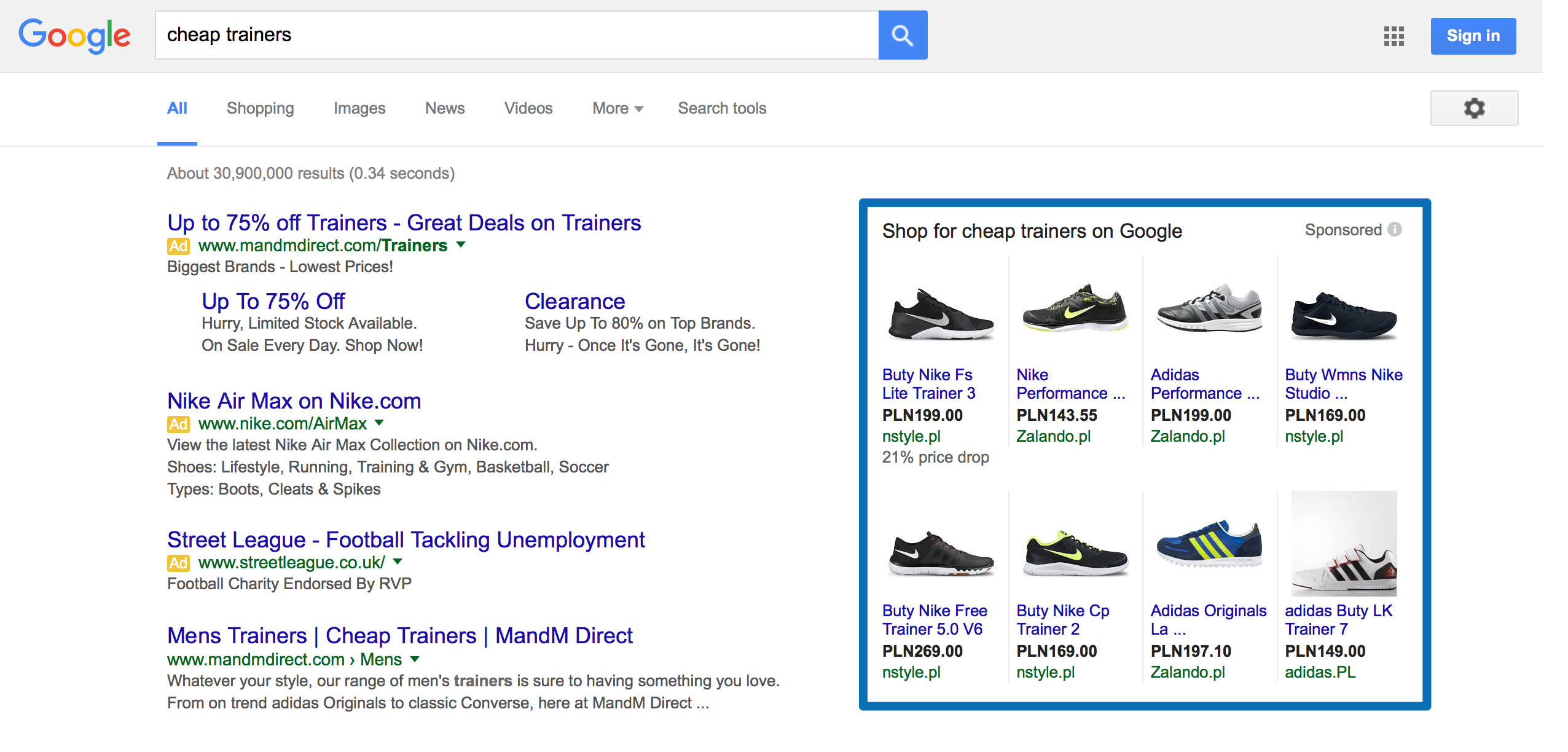 Google Shopping for Google Search Network